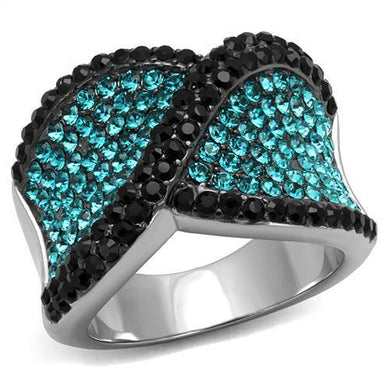 TK2764 - Two-Tone IP Black Stainless Steel Ring with Top Grade Crystal  in Blue Zircon
