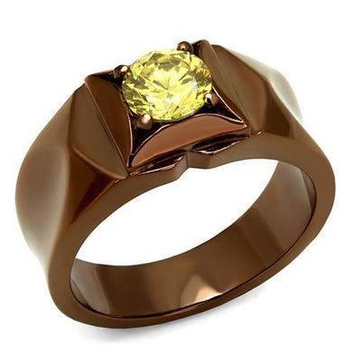 TK2773 - IP Coffee light Stainless Steel Ring with AAA Grade CZ  in Topaz