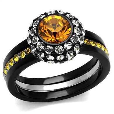 TK2783 - Two-Tone IP Black (Ion Plating) Stainless Steel Ring with Top Grade Crystal  in Topaz