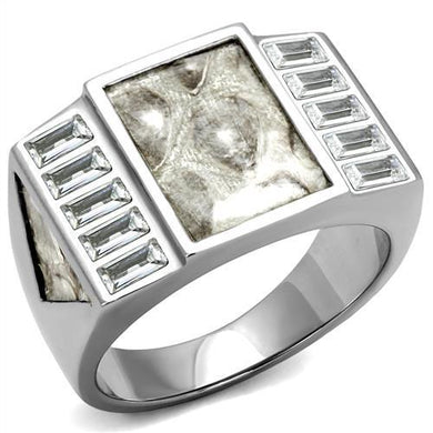 TK2784 - No Plating Stainless Steel Ring with AAA Grade CZ  in Clear