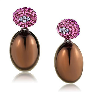 TK2787 - IP Coffee light Stainless Steel Earrings with Top Grade Crystal  in Multi Color