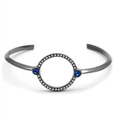 TK2792 - IP Light Black  (IP Gun) Stainless Steel Bangle with Top Grade Crystal  in Capri Blue