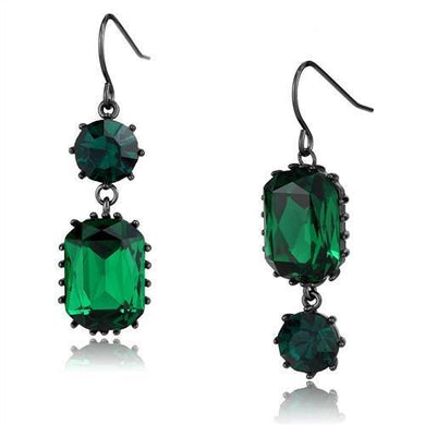 TK2817 - IP Dark Brown (IP coffee) Stainless Steel Earrings with Top Grade Crystal  in Emerald