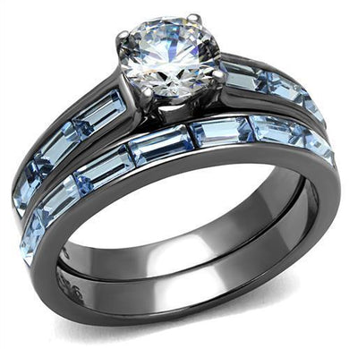 TK2845 - IP Light Black  (IP Gun) Stainless Steel Ring with AAA Grade CZ  in Clear