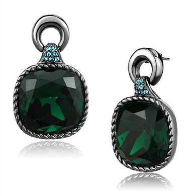 TK2852 - IP Light Black  (IP Gun) Stainless Steel Earrings with Top Grade Crystal  in Emerald