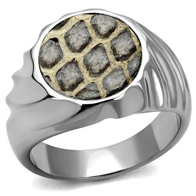 TK2859 - High polished (no plating) Stainless Steel Ring with Leather  in Animal pattern