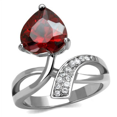 TK2863 - High polished (no plating) Stainless Steel Ring with AAA Grade CZ  in Garnet