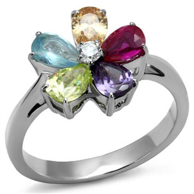 TK2867 - High polished (no plating) Stainless Steel Ring with AAA Grade CZ  in Multi Color