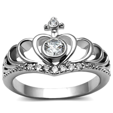 TK2870 - High polished (no plating) Stainless Steel Ring with AAA Grade CZ  in Clear