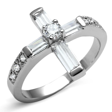 TK2871 - High polished (no plating) Stainless Steel Ring with AAA Grade CZ  in Clear