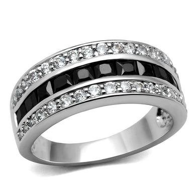 TK2872 - High polished (no plating) Stainless Steel Ring with AAA Grade CZ  in Black Diamond