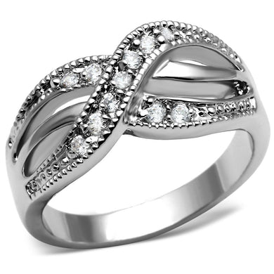 TK2873 - High polished (no plating) Stainless Steel Ring with AAA Grade CZ  in Clear