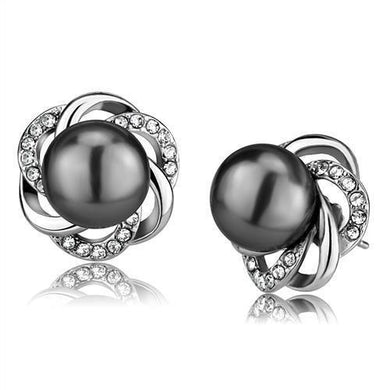 TK2890 - High polished (no plating) Stainless Steel Earrings with Synthetic Pearl in Gray