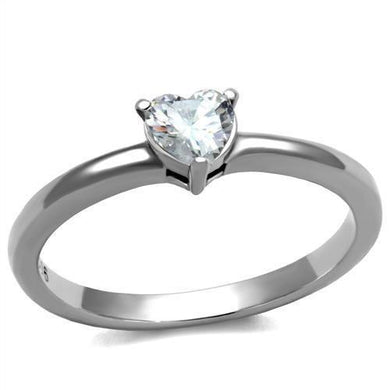 TK2904 - High polished (no plating) Stainless Steel Ring with AAA Grade CZ  in Clear