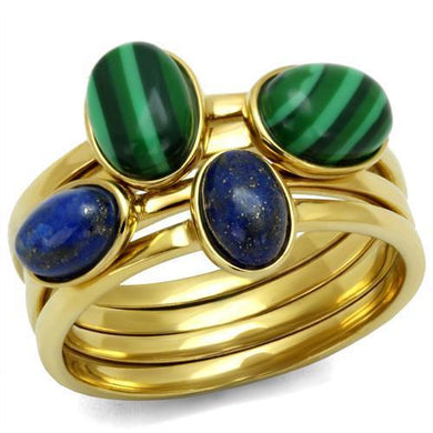 TK2905 - IP Gold(Ion Plating) Stainless Steel Ring with Synthetic MALACHITE in Emerald