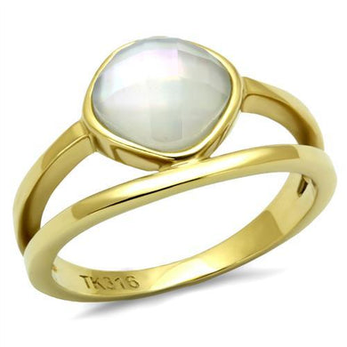 TK2908 - IP Gold(Ion Plating) Stainless Steel Ring with Precious Stone Conch in White