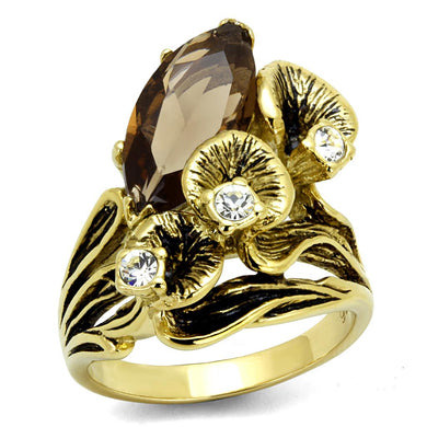 TK2914 - IP Gold(Ion Plating) Stainless Steel Ring with Synthetic Synthetic Glass in Brown