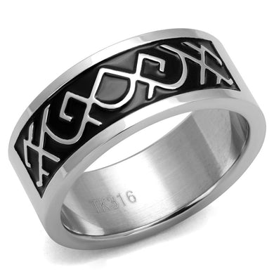 TK2921 - High polished (no plating) Stainless Steel Ring with Epoxy  in Jet