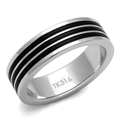 TK2925 - High polished (no plating) Stainless Steel Ring with Epoxy  in Jet