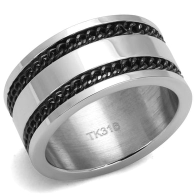 TK2927 - High polished (no plating) Stainless Steel Ring with Epoxy  in Jet