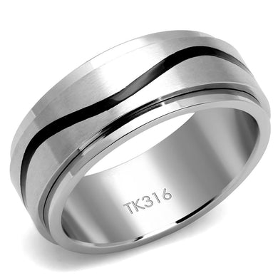 TK2929 - High polished (no plating) Stainless Steel Ring with Epoxy  in Jet