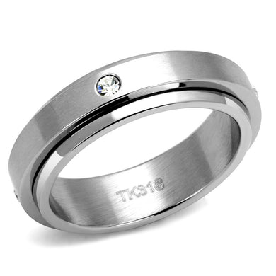 TK2933 - High polished (no plating) Stainless Steel Ring with AAA Grade CZ  in Clear