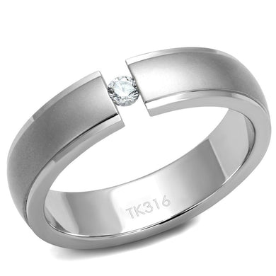 TK2935 - High polished (no plating) Stainless Steel Ring with AAA Grade CZ  in Clear