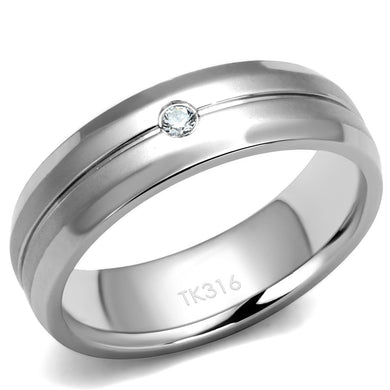 TK2936 - High polished (no plating) Stainless Steel Ring with AAA Grade CZ  in Clear