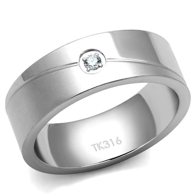 TK2937 - High polished (no plating) Stainless Steel Ring with AAA Grade CZ  in Clear
