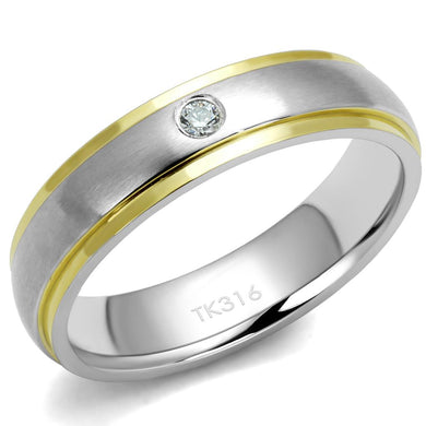 TK2938 - Two-Tone IP Gold (Ion Plating) Stainless Steel Ring with AAA Grade CZ  in Clear