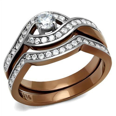 TK2953 - Two Tone IP Light Brown (IP Light coffee) Stainless Steel Ring with AAA Grade CZ  in Clear
