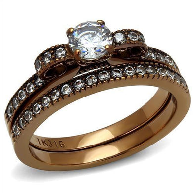 TK2955 - IP Coffee light Stainless Steel Ring with AAA Grade CZ  in Clear