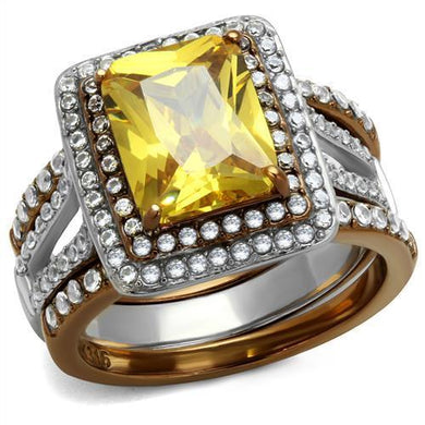 TK2962 - Two Tone IP Light Brown (IP Light coffee) Stainless Steel Ring with AAA Grade CZ  in Topaz