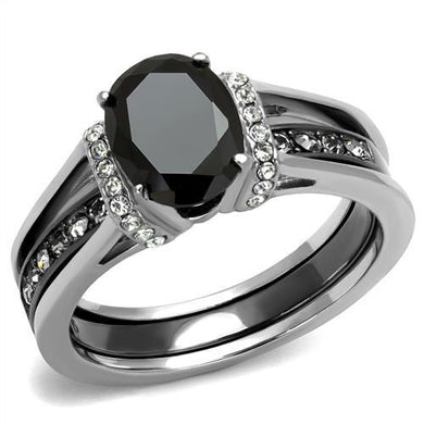 TK2971 - Two-Tone IP Black Stainless Steel Ring with Synthetic Synthetic Glass in Jet
