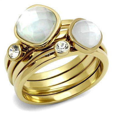 TK2975 - IP Gold(Ion Plating) Stainless Steel Ring with Synthetic Synthetic Glass in White