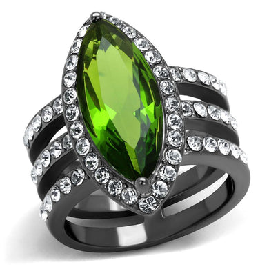 TK2989 - IP Light Black  (IP Gun) Stainless Steel Ring with Synthetic Synthetic Glass in Peridot