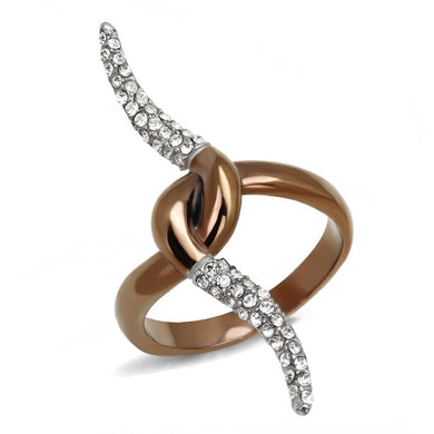 TK2991 - Two Tone IP Light Brown (IP Light coffee) Stainless Steel Ring with Top Grade Crystal  in Clear