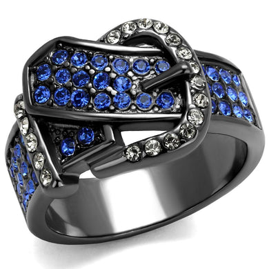 TK2995 - IP Light Black  (IP Gun) Stainless Steel Ring with Top Grade Crystal  in Multi Color