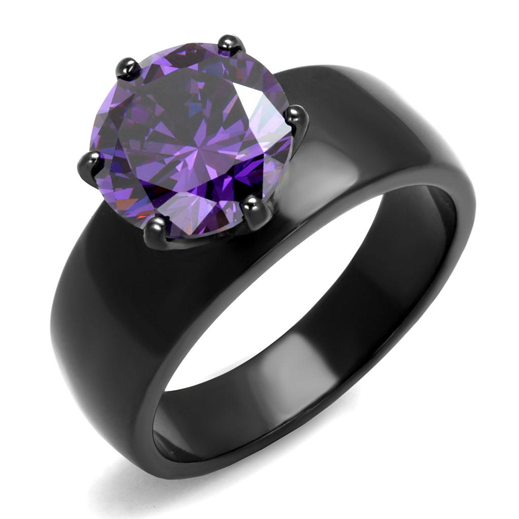 TK2999 - IP Black(Ion Plating) Stainless Steel Ring with AAA Grade CZ  in Amethyst