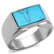 Load image into Gallery viewer, TK3000 - High polished (no plating) Stainless Steel Ring with Synthetic Imitation Amber  in Sea Blue