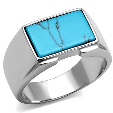 TK3000 - High polished (no plating) Stainless Steel Ring with Synthetic Imitation Amber  in Sea Blue