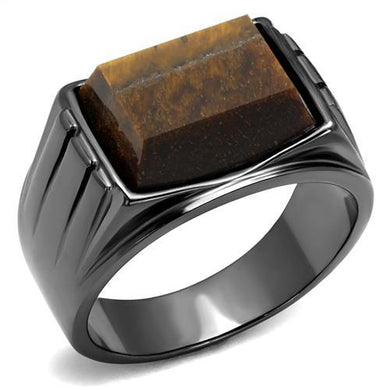TK3001 - IP Light Black  (IP Gun) Stainless Steel Ring with Synthetic Tiger Eye in Topaz