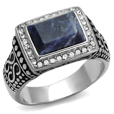 TK3003 - High polished (no plating) Stainless Steel Ring with Semi-Precious Sodalite in Capri Blue