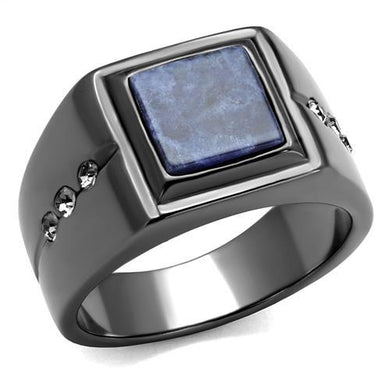 TK3006 - IP Light Black  (IP Gun) Stainless Steel Ring with Blue Sand  in Montana