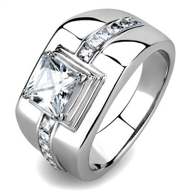 TK3011 - High polished (no plating) Stainless Steel Ring with AAA Grade CZ  in Clear