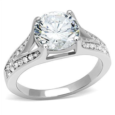 TK3020 - High polished (no plating) Stainless Steel Ring with AAA Grade CZ  in Clear