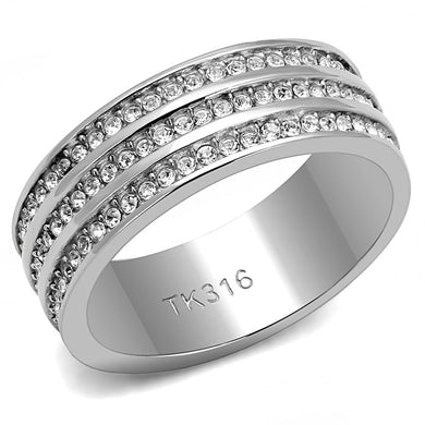TK3028 - High polished (no plating) Stainless Steel Ring with Top Grade Crystal  in Clear