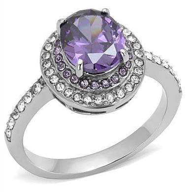 TK3032 - High polished (no plating) Stainless Steel Ring with AAA Grade CZ  in Amethyst
