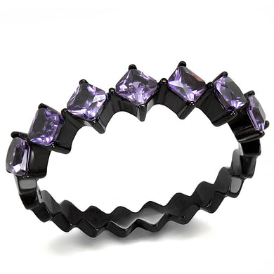 TK3054 - IP Black(Ion Plating) Stainless Steel Ring with AAA Grade CZ  in Amethyst