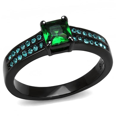 TK3064 - IP Black(Ion Plating) Stainless Steel Ring with Synthetic Synthetic Glass in Emerald